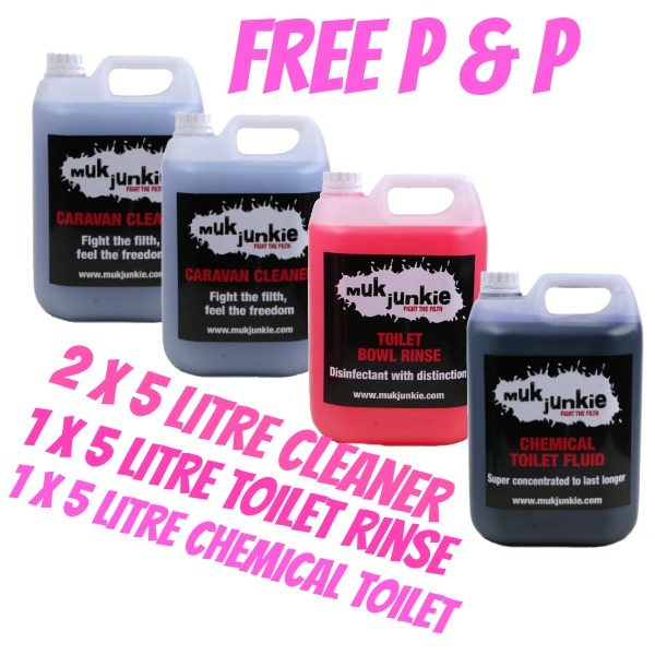 Special Offer - 1 x 5 litre Chemical Toilet Fluid, 1 x 5 litre Chemical Toilet Bowl Rinse & 2 x 5 litre Caravan / Motorhome Cleaner including free* P & P